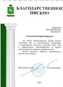 Благодарность от Николайчука